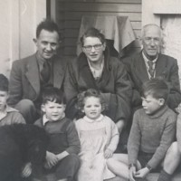 AP209 Arthur and Mary Prior, Arthur's father Norman and a group of children, 1953-4.jpg